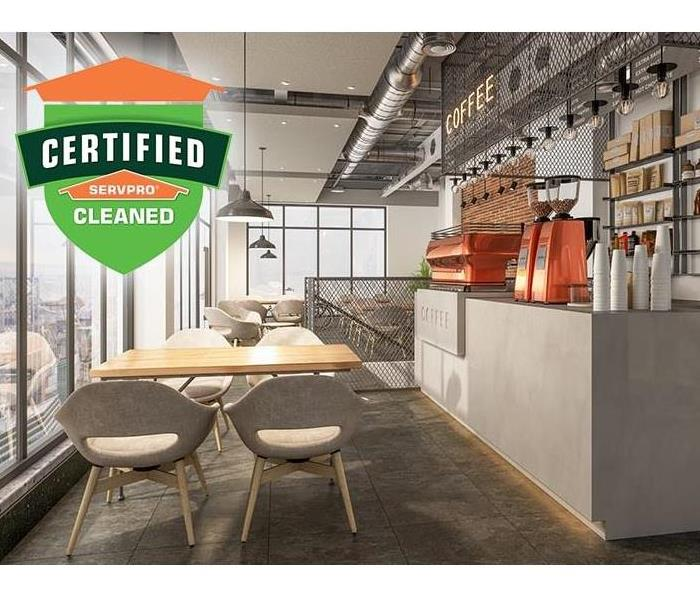 Certified: SERVPRO Cleaned logo with a graphic image of a coffee shop